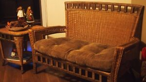 Wicker bench and  matching side table