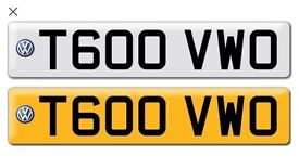 T600 VWO - Private Personalised Cherished Registration Number Plate - VW T6