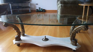 Unique Tempered Glass ,Marble bottom Coffee Table NEW PRICE