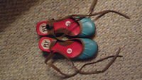 Fly London turquoise shoes ankle ties Ladies size 8 or 8.5