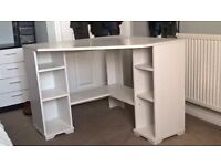 IKEA white corner desk with storage