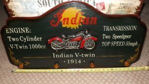 Indian Motorcycle Pictures and Two Metal Route 66 Signs