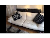 Couch - White leather. Bargain! SOLD