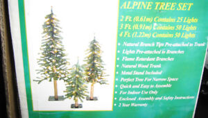 Three Pre-Lit Alpine Trees