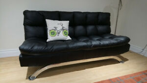 Black Faux Leather Clic Clac Sofa