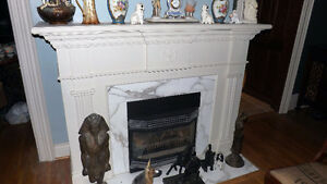 White stone fireplace Mantle and surround from Century Home. London Ontario image 2
