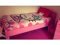 ****pink bedroom furniture , bed , drawers , wardrobe , mattress ***