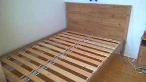 Wood Queen Bed with Slatted Base
