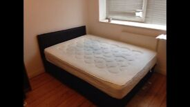 Double Bed with Double Mattress and Black Headboard *Free Delivery*