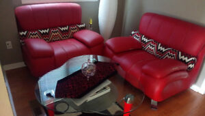 Glass table with free sofas