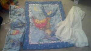 Crib Bedding Set (Blue) - 3 pieces