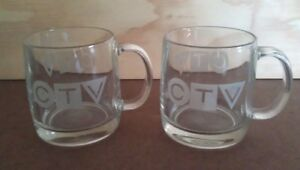 Matching PAIR CTV Coffee/Tea MUGS: Clear Glass, Top condition