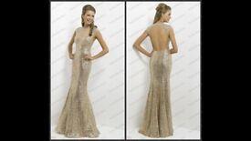 Alexia Blush Gold Sequin Prom Dress