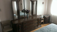 Bedroom funiture set Solid brown oak  Queen size bed