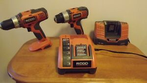 one Rigid 18 volt drill and one 18 volt charger