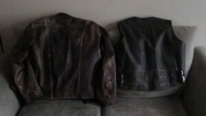Leather jacket and HD vest