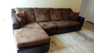 Sectional sofa set microfiber/faux leather with Ottoman
