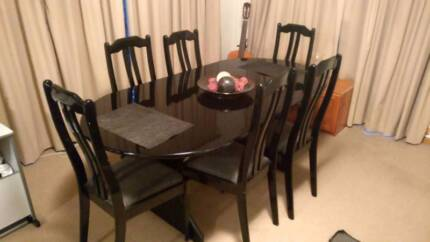 Black Oval Dining Table 6 Seater High Back Chairs
