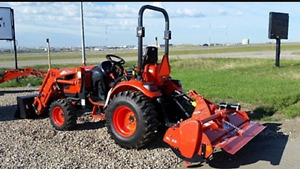 4 wheel drive tractor with loader rototiller and mower for rent