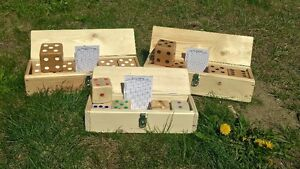 Hand crafted, hand painted cedar yard dice, now Kids sets too!