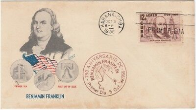 1956-FDC-123 ANTILLES FDC. 1956. BENJAMIN FRANKLIN. ELMO SPECIAL COVER. ELECTRIC