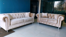 Champagne 3&2 Seater Chesterfield Sofa set free local delivery
