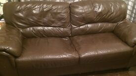 2 x 2 seater couches brown leather