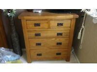 Oak bedroom drawers x 2