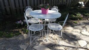 Antique 1940's White Iron 5pc Patio Dining Set Shabby Chic