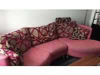 Contemporary Fuchsia Curved Couch