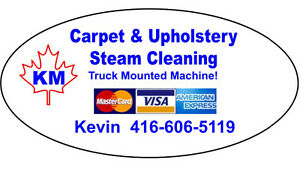 KM Carpet & Upholstery Cleaning • Truck Mounted Machine!