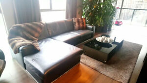 High Quality Leather Couch w/Chaise - Black