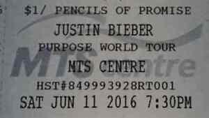 2 Tickets for Justin Bieber Sec 105 Row 3 Sat June 11 2016