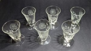 6 HUGHES CORNFLOWER GLASSES 5oz FOOTED TUMBLERS  SET #196/5/5