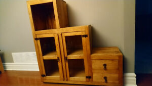 Solid Pine Display Unit with Glass Doors (Santa Fe Rusticos)