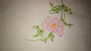 Italian White Damask ornamental fabric with embroidery - 44