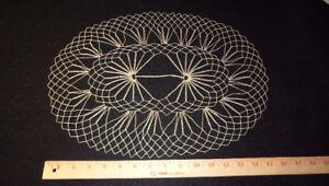 Ecru unused symettrical pattern heirloom lace doily -1