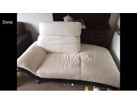 WHITE LEATHER CHAISE LOUNGE. Brand new £1400