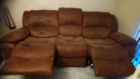 Brown retracting couches w/ extended legrest