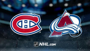 Canadiens vs Avalanches 23 janvier - 2 billets