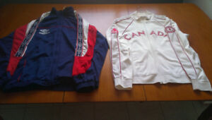 4 previously owned track jackets, good condition and like new