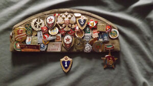 Soviet Union Military Pilotka hat with Pins and Unit Patches