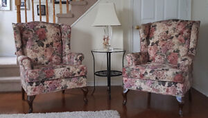Matching Set of Two Floral Wing Chairs