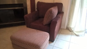 Microsuede Sofa Chair w/Stool for sale