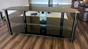 TV Stand - Black tempered glass - Great condition