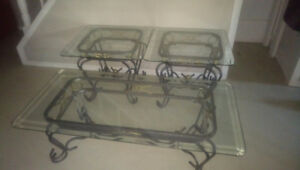 Coffee Table and 2 End Tables (Glass Tops with Iron Legs)