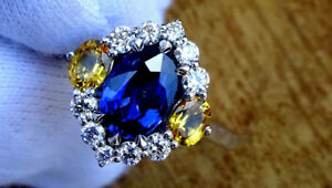 New 2.01 total carat 18K gold vivid blue sapphire diamond ring