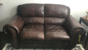 Beautiful Brown Leather Sofa Couch Loveseat from The Brick