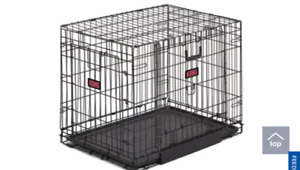Dog crate with bed