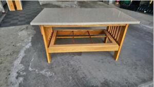 Coffee Table Small- Oak Base, Quartz Top - Mission Style Design.